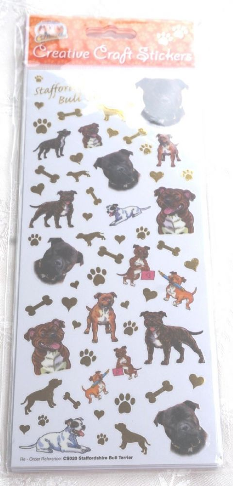 STAFFORDSHIRE BULL TERRIERS STAFFIE -   CRAFT STICKERS  CARD CRAFT ETC
